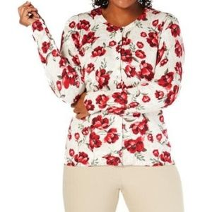 Plus Floral Button-Down Cardigan Sweater